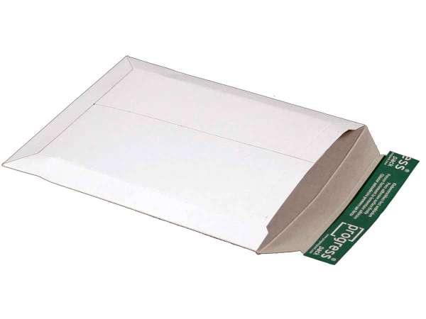 Versandtasche Vollpappe weiß 205x262x-30 mm