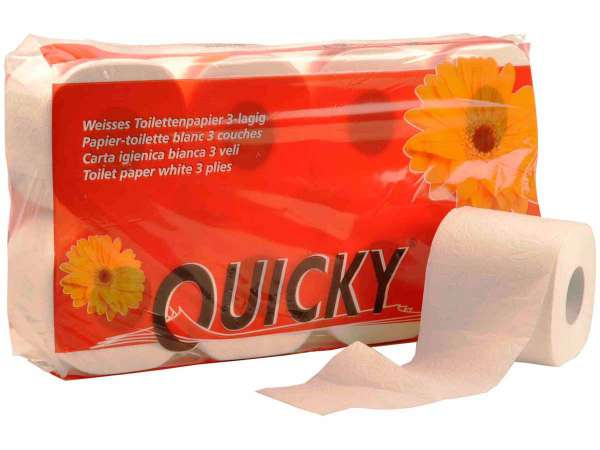Toilettenpapier Quicky 3-lagig hochweiss 250 Blatt/Rolle