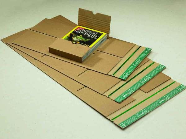 Buchverpackung progress PREMIUM mit zentraler Packgutaufnahme aus doppelter Wellpappe