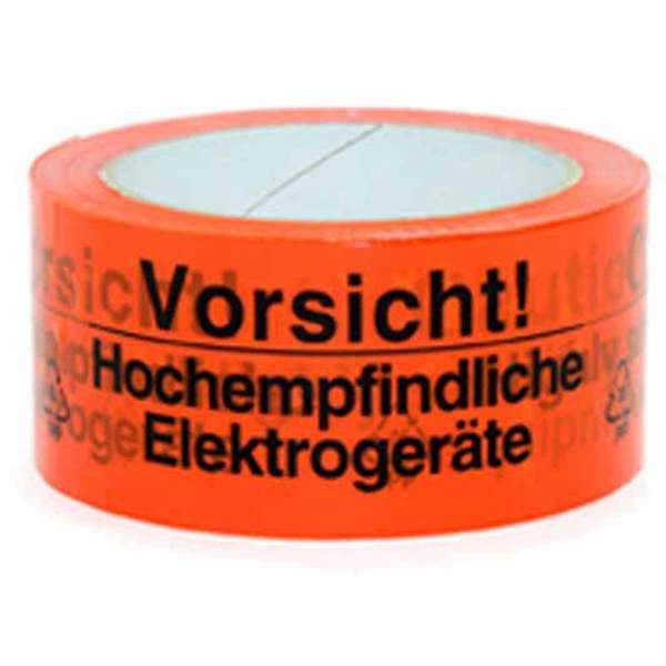 PP-Klebeband 50 mm 66 lfm rot Vorsicht Hochempfindliche Elektrogeräte