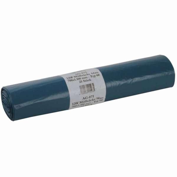 Müllsäcke 120 Liter LDPE-Regenerat Typ 60 blau