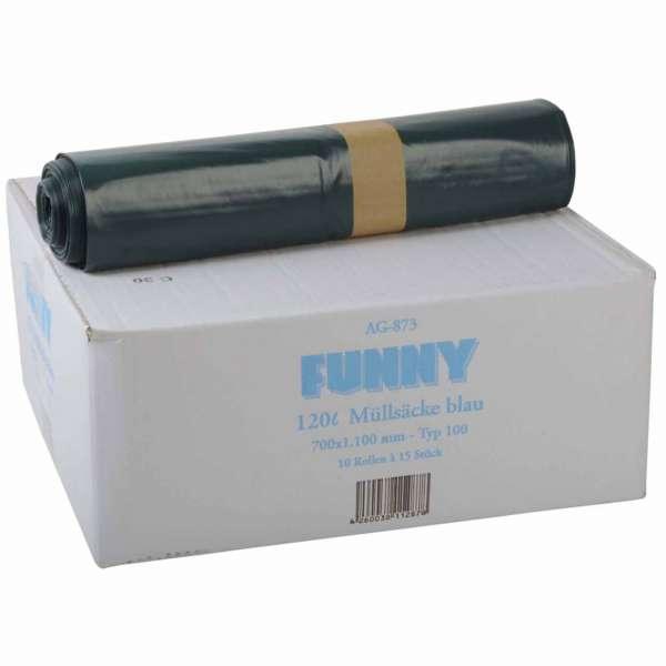 Müllsäcke 120 Liter LDPE-Regenerat Typ 100 blau