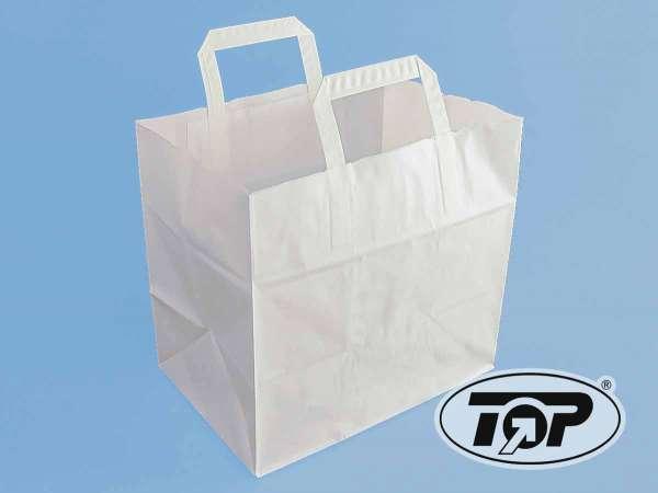 Papiertragetaschen weiß 26+17,5x26 cm