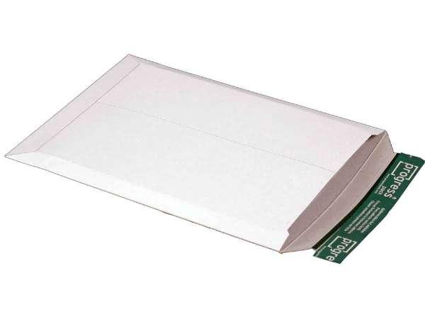 Versandtasche Vollpappe weiß 237x342x-30 mm