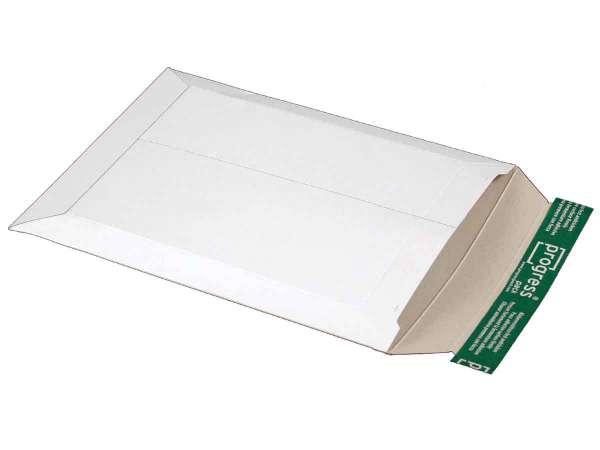 Versandtasche Vollpappe weiß 235x308x-30 mm