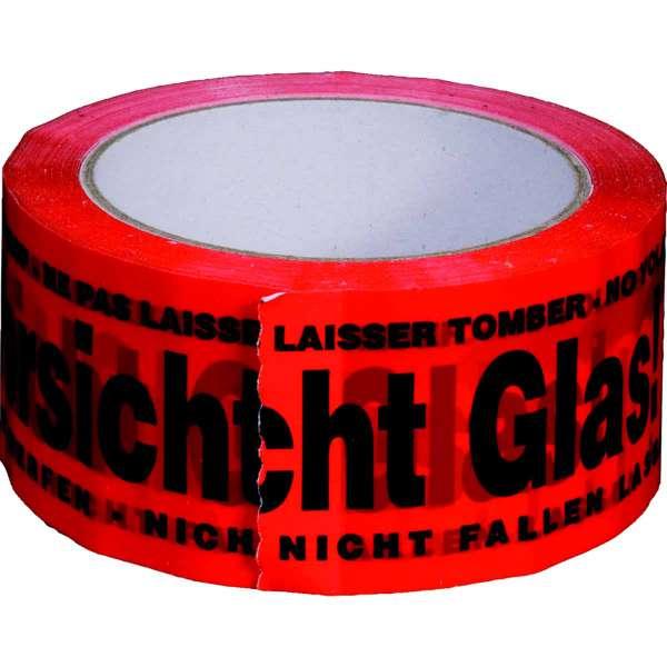 PP-Klebeband 50 mm 66 lfm rot Vorsicht Glas