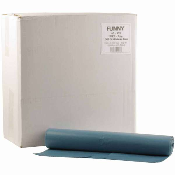 Müllsäcke 120 Liter LDPE-Regenerat Typ 80 blau
