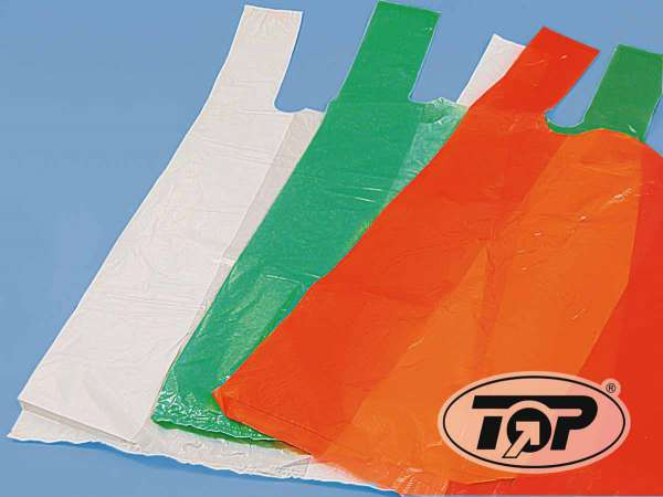 Plastiktüten HDPE-Shopper-Tragetaschen weiß 28+14x48 cm