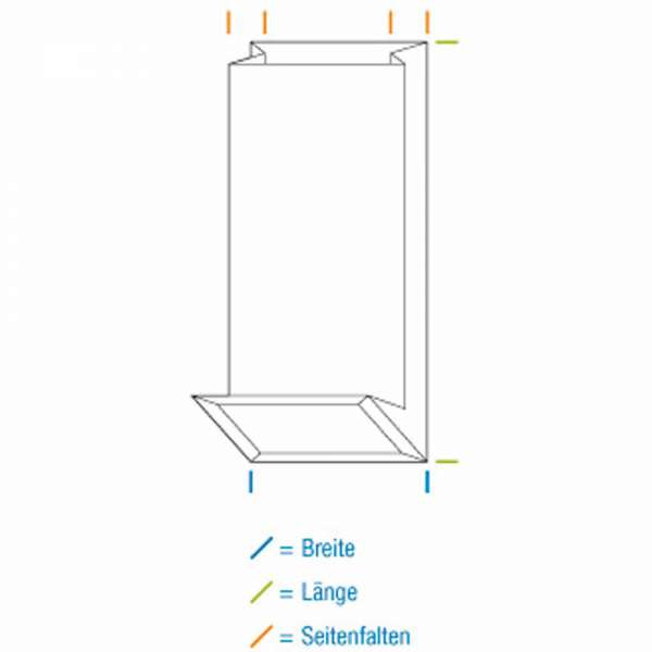 Blockbodenbeutel aus Papier ohne Sichtfenster 80+50x250 mm