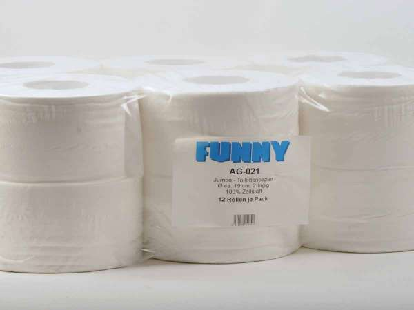 Jumbo-Toilettenpapier 2-lagig hochweiss ø 18 cm