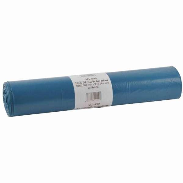 Müllsäcke blau 120 Liter LDPE-Regenerat Typ 60extra