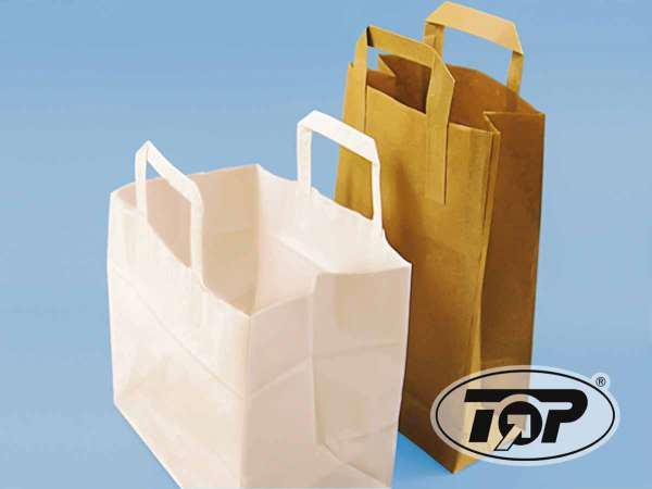 Papiertragetaschen braun und weiß 22+10,5x30 cm