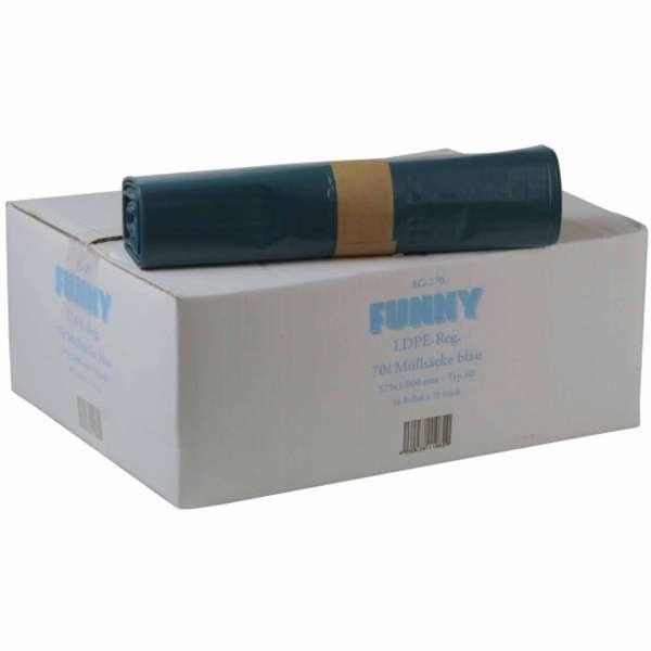 Müllbeutel 70 Liter LDPE-Regenerat Typ 60 blau